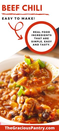 This beef chili recipe is an all time favorite dish that's not only easy to make, but also won't break the budget. Chili Spice Mix Recipe, Beef Chili Recipe, Chili Recipes, Pork Recipes, Real Food Recipes, Healthy Recipes, Free Recipes, Clean Eating Meal Plan, Clean Eating Recipes