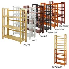 Folding Stacking Bookcase Foldable Storage Solid Wood