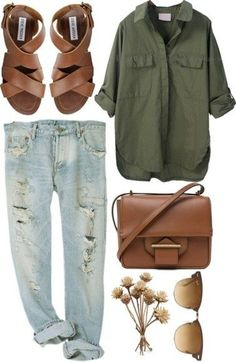 casual outfit with distressed jeans, olive shirt and brown leather sandals.