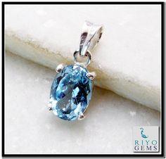 925 Sterling Silver Blue Topaz Gemstone pendant by Riyo Gems www.riyogems.com