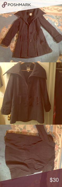 Grey Winter Coat Grey Winter Coat, barely been worn. soft material and warm. XOXO Jackets & Coats Trench Coats