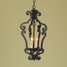Black Iron Scroll Lantern - Small. I WANT 2 of these over my kitchen island!!!