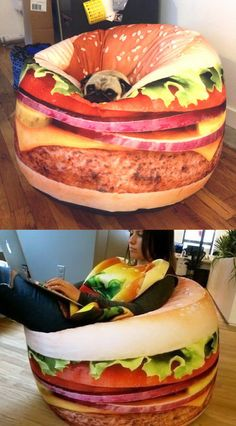 Do you love hamburgers enough to want to sit on one? This delicious looking bean bag has a photo realistic high quality print, is made of durable polyester