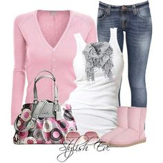 Light Pink Cardigan and Boots