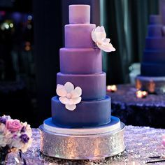 Purple Ombre Wedding Cake // Kristen Weaver Photography // Cake: The Sugar Suite // http://www.theknot.com/weddings/album/a-modern-southern-wedding-in-orlando-fl-144394