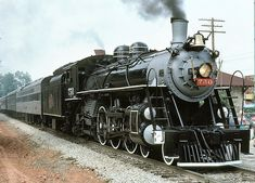 """Savannah & Atlanta #750, a 4-6-2 """"Pacific""""-type locomotive built by ALCO in  1910.  Originally constructed for the Florida East Coast Railroad, it was supposed to haul passengers across the """"Flagler Extension.""""  When a 1935 hurricane destroyed the connecting bridges, the engine was purchased by the Savannah & Atlanta Railroad.  Retired in 1962, it was picked up by the Southern Railway program and is now on display at the Southeastern Railway Museum."""