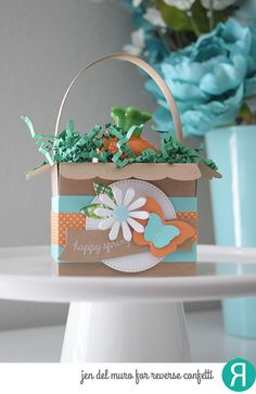 Spring gift bag by Jen del Muro. Reverse Confetti stamp set: Hippity Hoppity (sentiment). Confetti Cuts: Flowers for Mom, Butterfly Dreams and Gift Card Holder Tag. Gift bag was created with Gift Card Holder Tag. Spring gift. DIY gift bag. Easter treat.