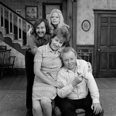 FAMILY cast photo featuring Sally Struthers Rob Reiner Jean Stapleton and Carroll O'Connor Negative dated October 24 1972 Jean Stapleton, Sally Struthers, Carroll O'connor, Goodbye My Friend, Classic Comedies, All In The Family, Stars Then And Now, Old Shows, Tv Land