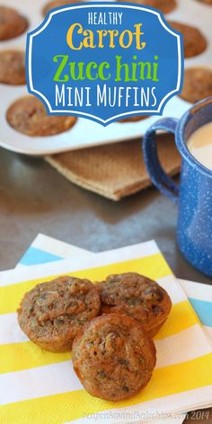 Healthy Snacks: Carrot Zucchini Whole Wheat Mini Muffins are the perfect breakfast recipe that are a healthy start to the day. Baby Food Recipes, Baking Recipes, Snack Recipes, Muffin Recipies, Fall Recipes, Think Food, Love Food, Mini Muffins, Veggie Muffins