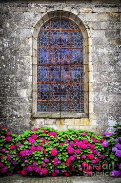 Stained glass church window on Carnac, Brittany, France
