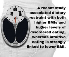 A recent study associated dietary restraintintentionally limiting calories to control weightwith both higher BMIs and higher levels of disordered eating whereas intuitive eating (the ability to read interpret and follow internal hunger cues) is strongly linked to lower BMI. (Eating and Weight Disorders) - http://ift.tt/1HQJd81