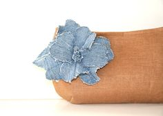 brown linen clutch with denim flower brooch by SassyStitchesbyLori, $36.00