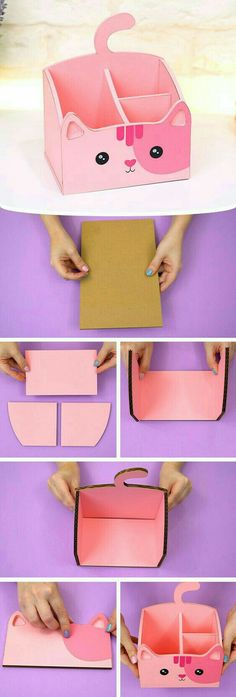 Paper Towel Roll Crafts, Cool Paper Crafts, Diy Arts And Crafts, Diy Crafts, Oragami, Origami Paper, Zip Pouch Tutorial, Cool Room Decor, Kawaii Diy