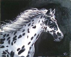 """Купить картина """"Конь в яблоках. Черно белый"""" - белая лошадь в ..."""