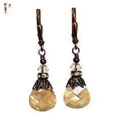 HisJewelsCreations Golden Shadow Vintage Inspired Rhinestone Crystal Earrings - Wedding earings (*Amazon Partner-Link)