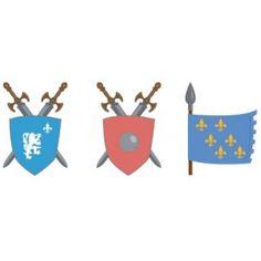 Ensemble de décorations murales : armure, épées et blasons qui donneront une véritable atmosphère de château de chevalier à la chambre de votre enfant. Le temps des chevaliers est de retour avec cet univers à composer selon vos souhaits.