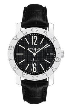 6f4477b7196 Bvlgari Bvlgari Black Dial Stainless Steel Black Leather Mens Watch 101380   3618.88  Watch  BVLGARI