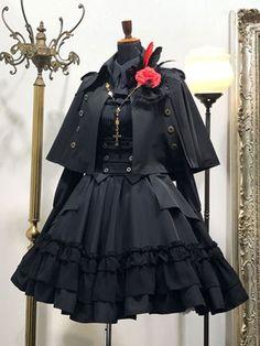 Gothic Lolita Poncho Black Cotton Blend Grommets Lolita Outwears – MY World Gothic Lolita Dress, Gothic Lolita Fashion, Lolita Style, Steampunk Fashion, Steampunk Outfits, Gothic Steampunk, Victorian Gothic, Old Fashion Dresses, Fashion Outfits