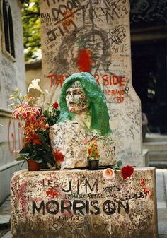 Jim Morrison's grave located in Paris, France. In color, it is truly a beautiful memorial.