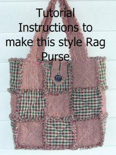 Rag Quilt Purse Pattern | Ashlawnfarms Rag Quilted Purse ePattern INSTRUCTIONS PDF 9-Patch ...