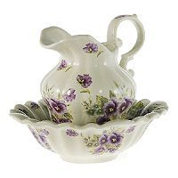 pitcher and basin set | Victorian Style Pansy Pitcher and Bowl Set