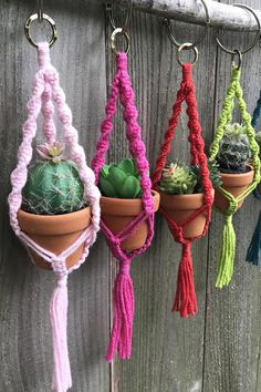 We're head over heels for macrame plant hangers! All the rage in the 1970s, the plush holders are back and ready to inject boho style into your surroundings. Trailing plants are especially fetching spilling out of them — try ivy, philodendron, pothos or a succulent like string of pearls; its vine of quirky bead-like buds is a joy to behold. Macrame Plant Holder, Macrame Plant Hangers, Plant Holders, Diy Arts And Crafts, Diy Crafts, Mini Plants, Craft Night, Artisanal, Plant Decor