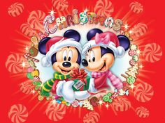 Merry Christmas Wallpaper of Disney Mickey And Minnie Mouse Natal Do Mickey Mouse, Mickey E Minnie Mouse, Minnie Mouse Christmas, Mickey Mouse Cartoon, Disney Mickey, Disney Bear, Baby Mickey, Holiday Wallpaper, Disney Wallpaper
