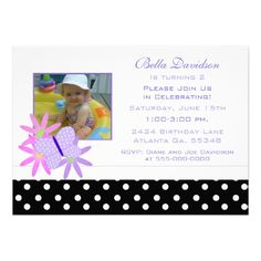 Butterfly, Flowers and Polka Dot Party Invitation