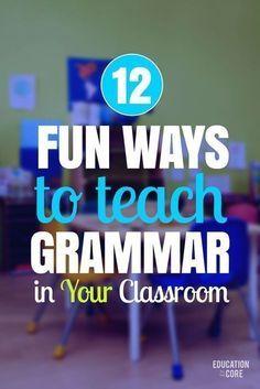 Teaching grammar - 12 Fun Ways to Teach Grammar in Your Classroom – Teaching grammar Grammar Activities, Teaching Grammar, Teaching Language Arts, Grammar Lessons, Teaching Writing, Teaching Strategies, Teaching Tips, Teaching English, Teaching Spanish