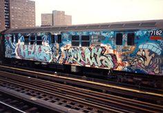 graffiti new york subway train