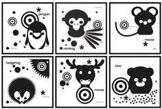 Black and white infant visual development stimulation card ...