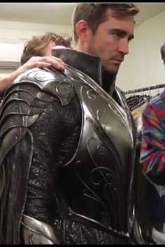 #LeePace getting fitted for his #Thranduil #BattleOfTheFiveArmies armor.