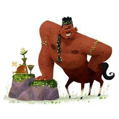 Centaur by Gop Gap on ArtStation. Simple Character, 3d Character, Zbrush, Cartoon Drawings, Cartoon Art, Fanart, Color Script, Marvel, Character Design Animation