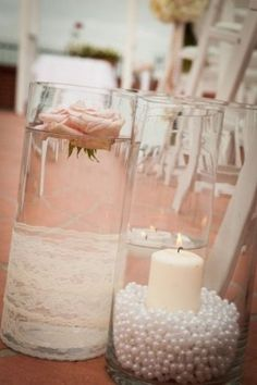 lace and pearl wedding aisle decor