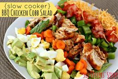 Slow Cooker BBQ Chicken Cobb Salad- a quick and simple way to use leftover chicken! SixSistersStuff.com #crockpot #vegetables