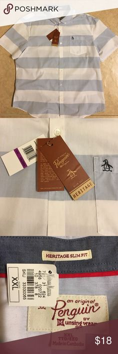☀️Men's NWT Penguin Short Sleeve Button Down XXL Men's Penguin short sleeve Button Down casual shirt, size XXL. Heritage Slim Fit. Large White and gray stripes. New With Tags, purchased at Neiman Marcus. Smoke-free home.  Bundle and save! Original Penguin Shirts Casual Button Down Shirts