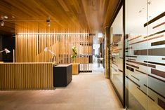 Commercial ceiling paneling, looks like flooring, rich color