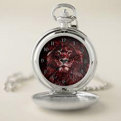 Shop Majestic Red Lion Pocket Watch created by ManCavePortal. Personalized Pocket Watch, Lion Cat, Pocket Watches, Personal Shopping, Make A Gift, Cool Watches, Portal, Quartz, Man Shop
