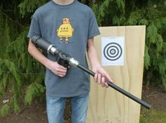 In this tutorial I'll show you how to make a high powered air gun with PVC and miscellaneous parts that you can find around your house or at your lo...