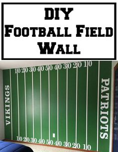 How fun is this DIY Football Field Wall? Step-by-step tutorial on how to make it, including fonts and sizes. Boys Football Room, Football Nursery, Football Bedroom, Football Wall, Football Field, Football Things, Football Birthday, Baseball, Boy Room