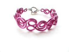 Fuchsia Pink Bracelet Wire Swirl Jewelry Size Small by elbowsdesigns, $15.00