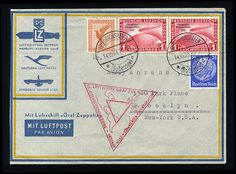 1933 Chicago Flight, 1m carmine, two singles used with additional franking on flown cover from Friedrichshafen to Chicago, filing fold away from the stamps, otherwise v.f., with arrival pmk    Dealer  Cherrystone Auction    Auction  Estimate price:  250.00US$