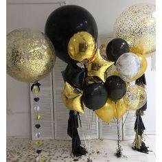Resultado de imagen para balloon topiary centerpieces for men Glitter Balloons, Clear Balloons, Gold Confetti Balloons, Black Balloons, Glitter Party, Gold Party, Glitter Top, Glitter Dress, Birthday Balloon Decorations