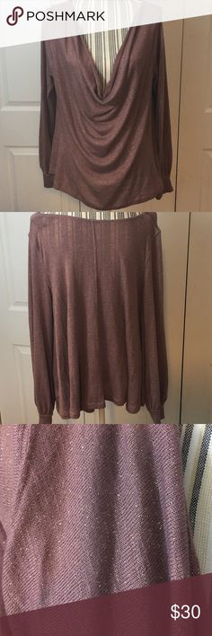 Free People Slouch Front Pullover Gold Stitching / Long Sleeve / Slouch Front / Size L Free People Tops