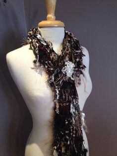 Knit Skinny Scarf - Dumpster Diva Animal instinct Scarf - Multitextural Fringed Knit Cheetah, Gold, Black, Brown, Whites, Animal Knit Scarf on Etsy, $30.00