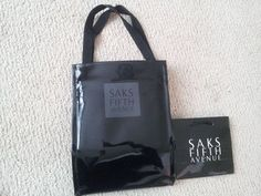 LOT OF 2 Black Patent Leather LUNCH Tote Bag Saks Fifth Avenue & SMALL GIFT BAG #SaksFifthAvenue #TotesShoppers
