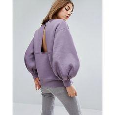 ASOS WHITE Balloon Sleeve Sweater (€53) ❤ liked on Polyvore featuring tops, hoodies, sweatshirts, purple, crew-neck sweatshirts, drop shoulder tops, oversized sweatshirts, oversized crew neck sweatshirt and crew neck sweatshirts