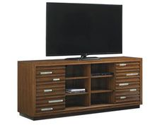 Shop for Tommy Bahama Home Princeville Media Console, 556-907, and other Home Entertainment Entertainment Centers Inset decorative glass accents; 2 sliding doors. Left and right side facing: 3 adjustable shelves; ventilation. Center: 6 adjustable shelves; ventilation; grommets for electrical cords.