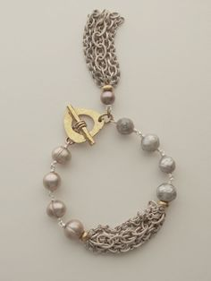 Gray Pearl & Chunky Chain Bracelet  Great leather jewelry on this site