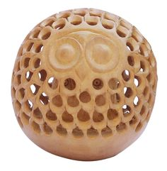 "Bulk Wholesale Hand-Carved 2.4"" Kadam Wood Statue / Sculpture of Ball-Shaped Owl Enhanced with Intricate Jaali / Filigree Work – Old Indian Art – Rich Home Décor"